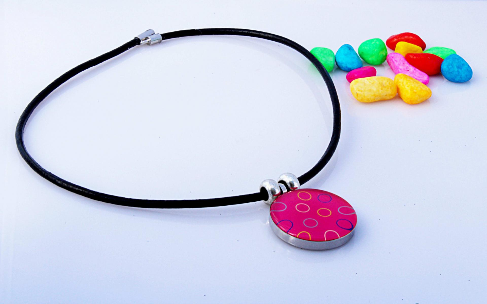 """Circle Of Life"" Stainless Steel  Pendant in bubblegum pink"
