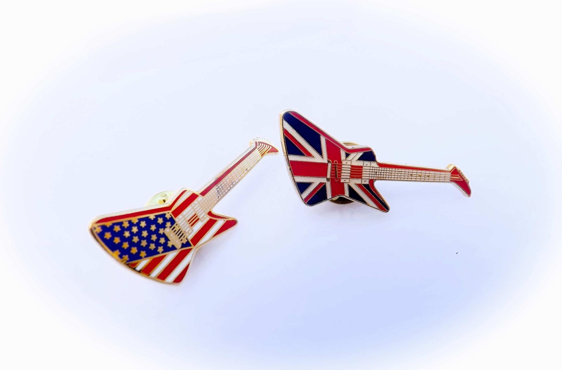 Gibson Explorer Guitar Pin Badge - Union Jack & American ...