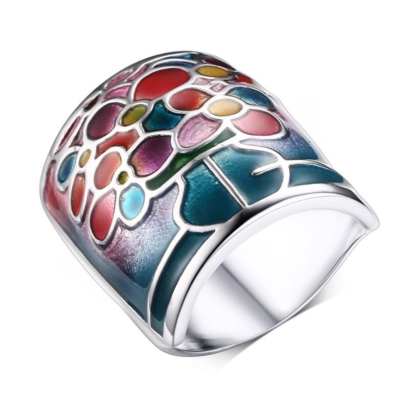 Coloured Enamel Geometric Statement Ring