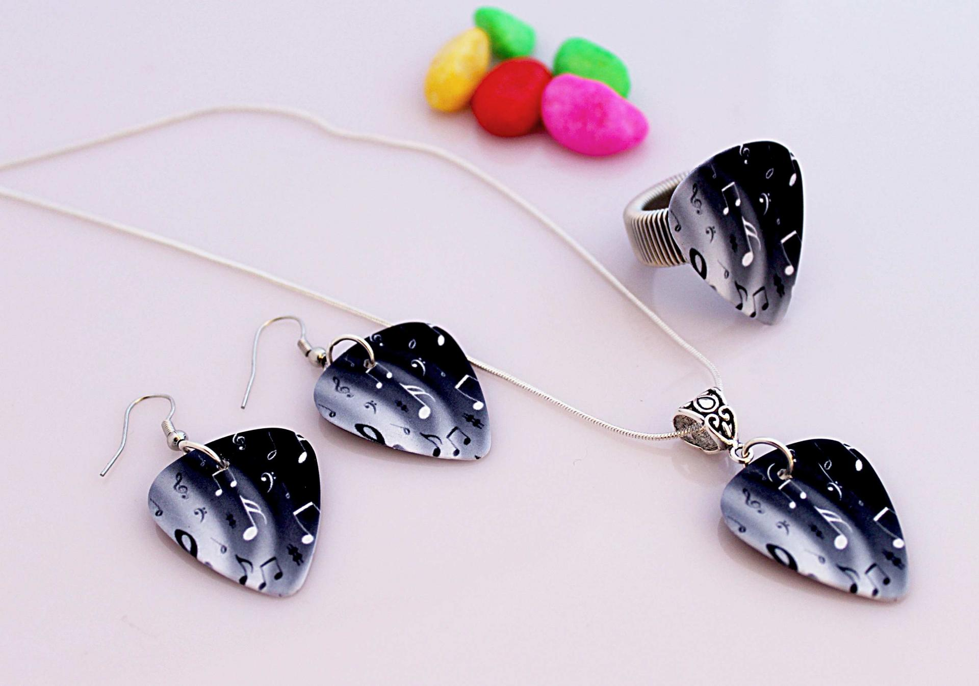 "Music Note Guitar Pick Jewellery Set  - ""Night & Day Notes"" Design"