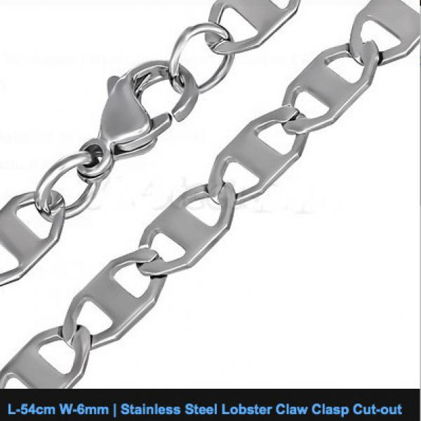 Stainless Steel Lobster Claw Clasp Cut-out Flat Oval Link Chain