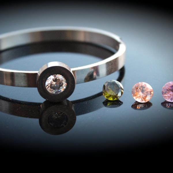 Unique Stainless Steel Stud Bangle With Interchangeable Gems