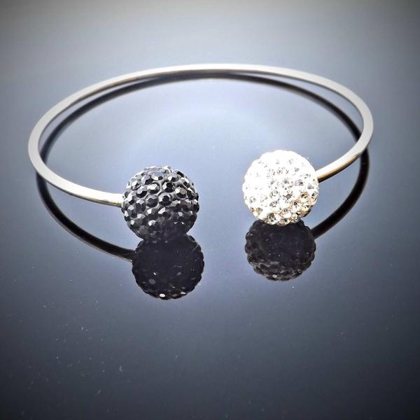 Black and White Crystal Bangle