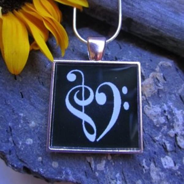 Bass Clef Resin Pendant