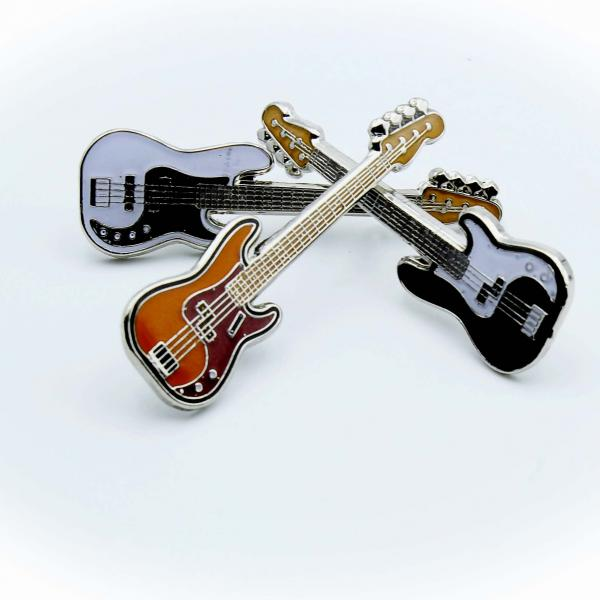 Bass Guitar Pin Badges In The Style Of Fender Precision - 3 Colours