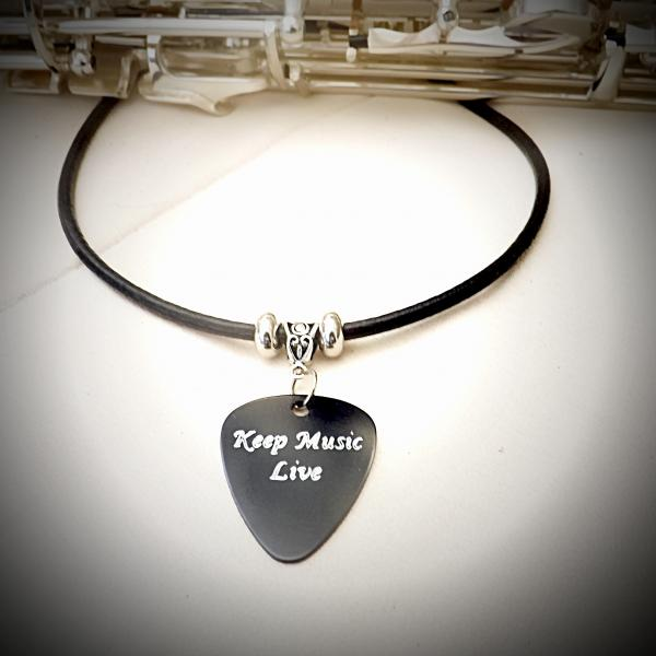 Leather Choker with Metal Guitar Pick - Choice of Slogan and Colour
