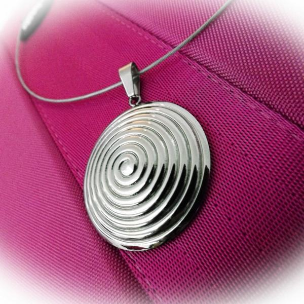 Bullseye Dome Circle Pendant in Stainless Steel - Customise This Piece!
