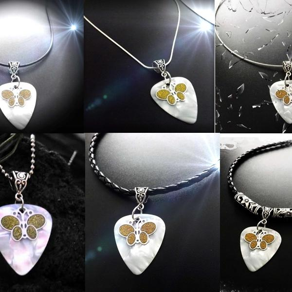 Guitar Pick with Sandblasted Butterfly Charm
