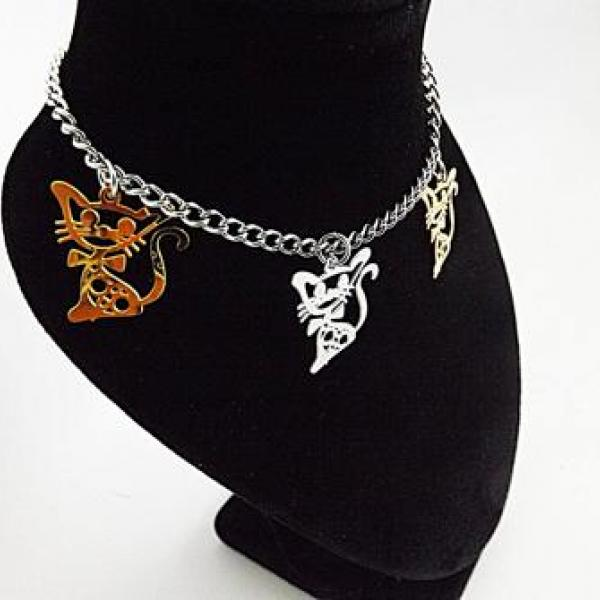 Stainless Steel 2-tone Cut-out Kitten Cat Charm Link Chain Bracelet/ Anklet