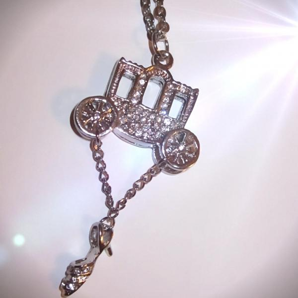 Cinderella Style fairy tale Necklace Carriage and Hanging Shoe Necklace