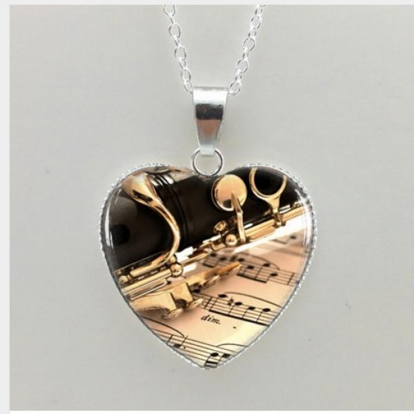 Clarinet Necklace in Heart Shape