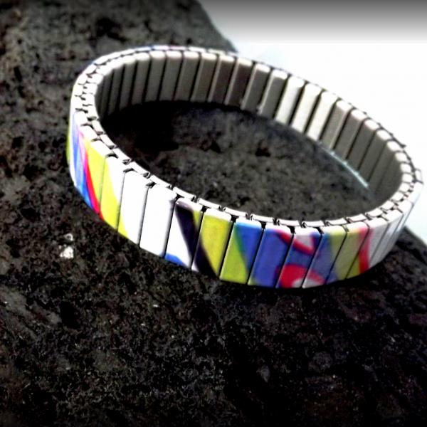 Stainless Steel Colorful Art Paint Stretch Bracelet
