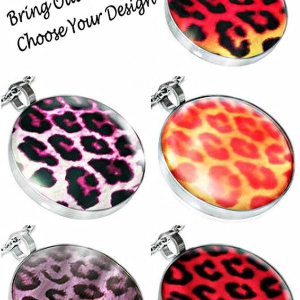 Leopard Print Stainless Steel Circle Pendants - Bring Out Your Wild Side!