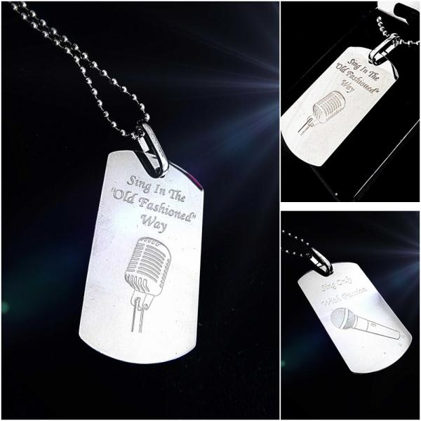 Chrome Tag Pendants with Microphones