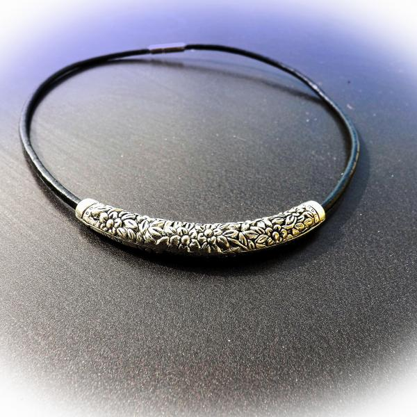 Curved Tube Vintage Antique Silver Choker Necklace