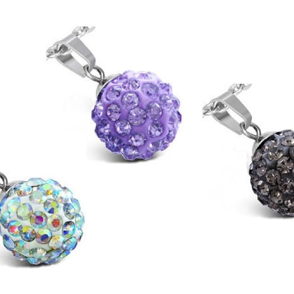 Stainless Steel Argil Disco Ball Shamballa Pendant