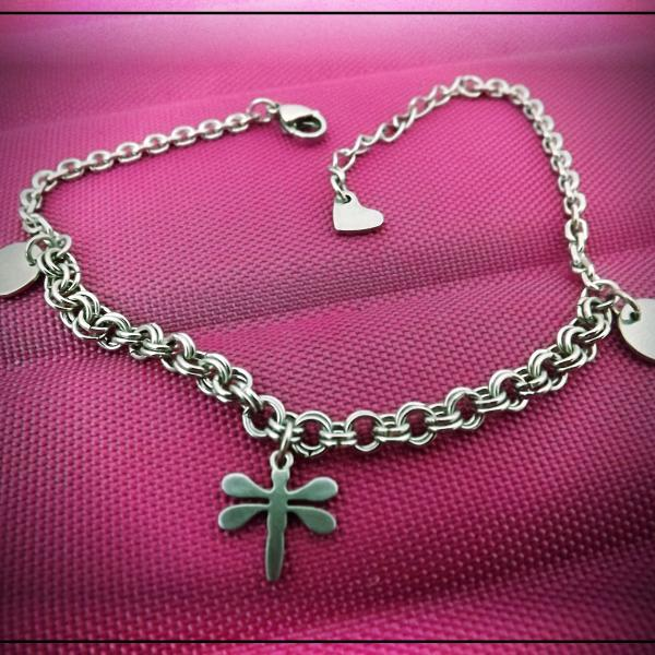 Dragonfly Circle Disc Love Heart Charm Bracelet