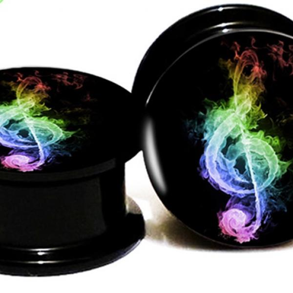 Music Note Acrylic Ear Plug Flesh Tunnel Expander