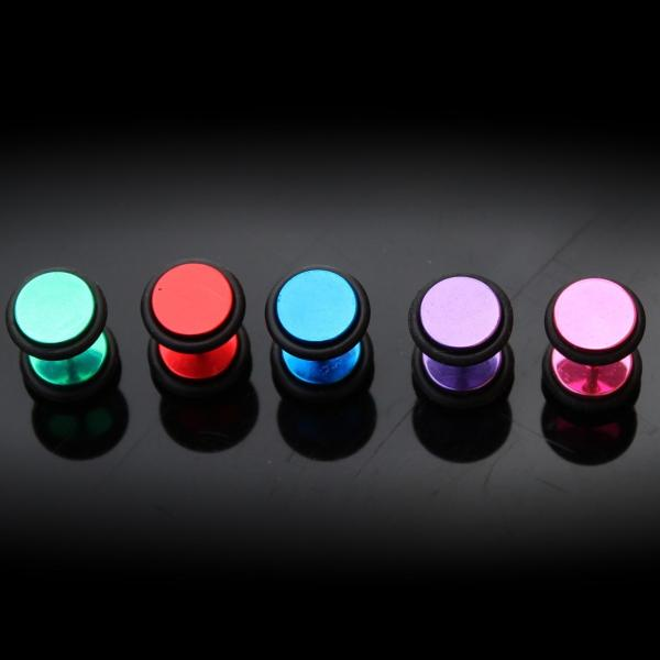 Fake Ear Plug Ear Stretcher - Bright Titanium Colours.