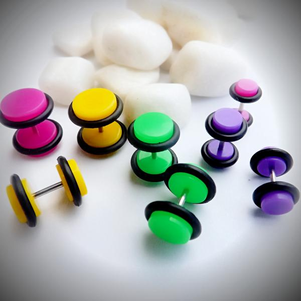 Fake Ear Plug with O Ring Acrylic - Neon Colours