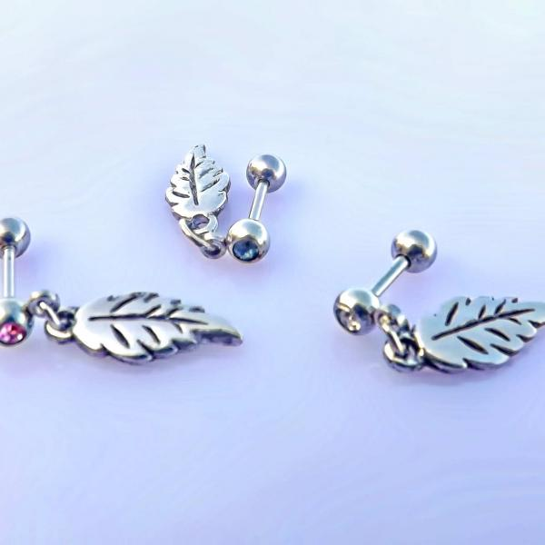 Falling Feather Dangle Cartilage Piercing Earrings