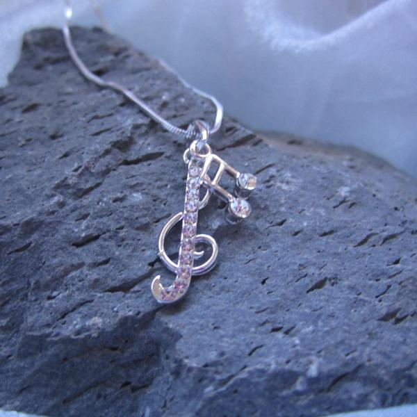 G Clef and Note Necklace with Crystals
