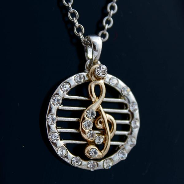 G Clef Staff Music Necklace - 2 Tone Style