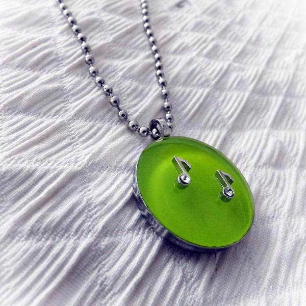 Lemon Green Circle Pendant With Music Notes