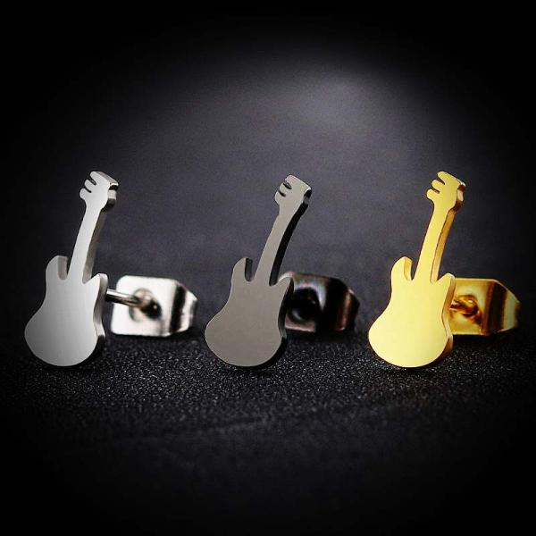 Guitar Earrings Stainless Steel - 3 Colour Choice