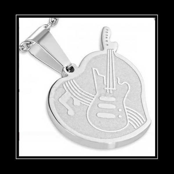 Guitar Musical Love Note Pendant - Customisable