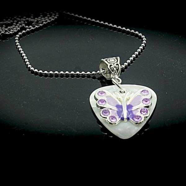 Guitar Pick Necklace /Choker with Butterfly - customisable