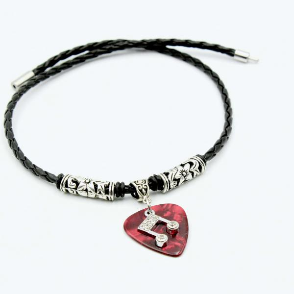 Guitar Pick Necklace with Music Note Charm -Customisable