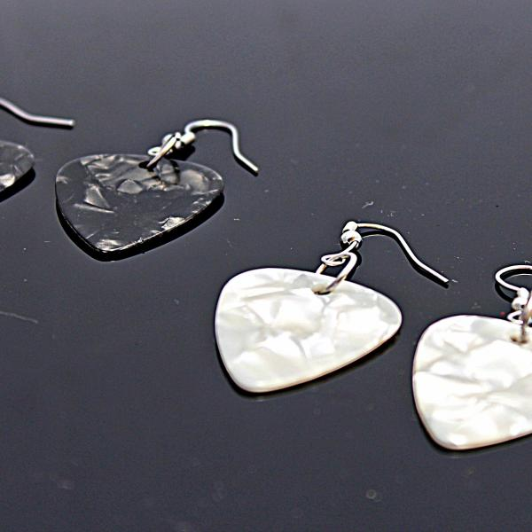 Guitar Pick Earrings - Choice of Pearlised Colour