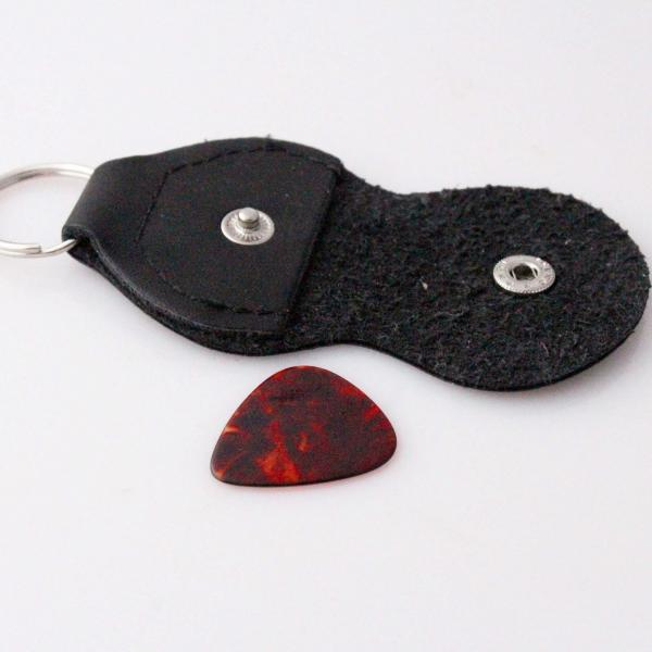 Guitar Pick Holder Keychain Genuine Leather