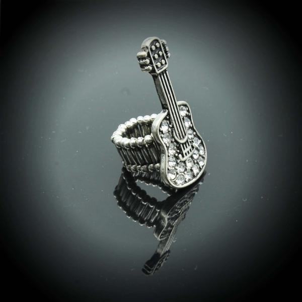 Guitar Ring in Stretch Crystal