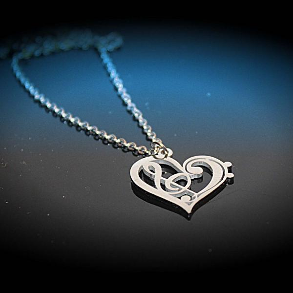 Heart Necklace with Bass and Treble Clef Fusion