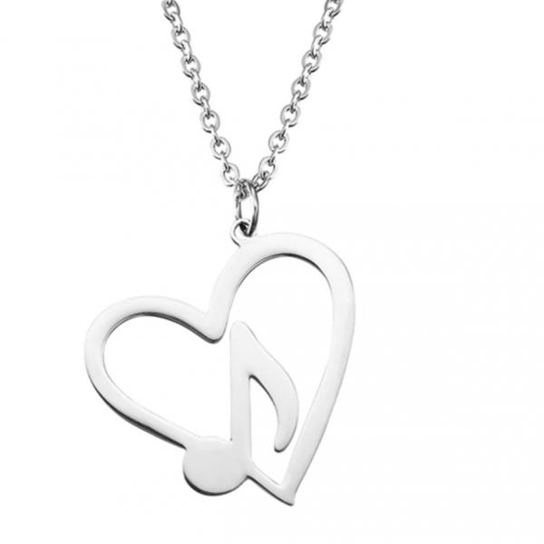 Music Note in Heart Necklace