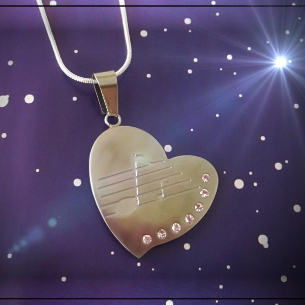 Valentines Heart Pendant in Stainless Steel with Music Note