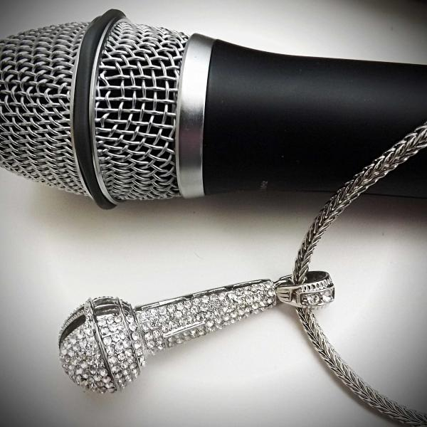 Hip Hop Rapper Iced Out Microphone Pendant Silver Crystal - Ultra Large