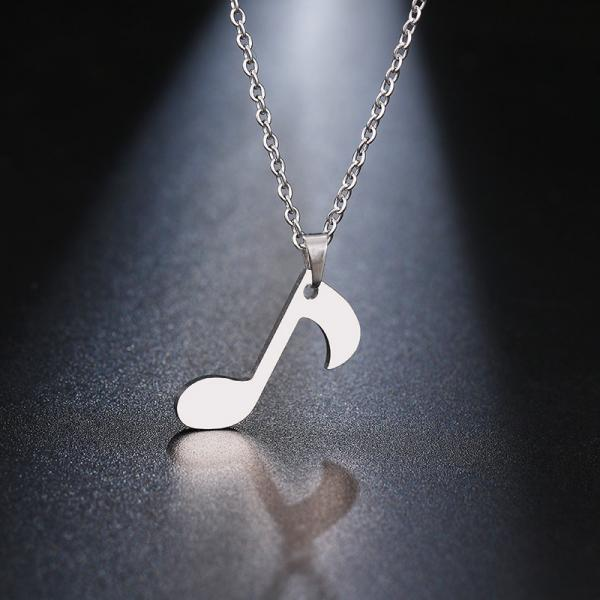Music Note Quaver Necklace in Stainless Steel