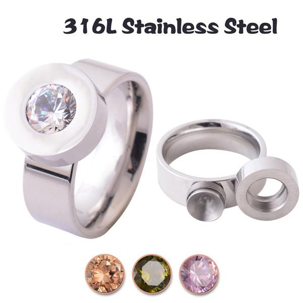 Unique Stainless Steel Stud Ring With Interchangeable Gems