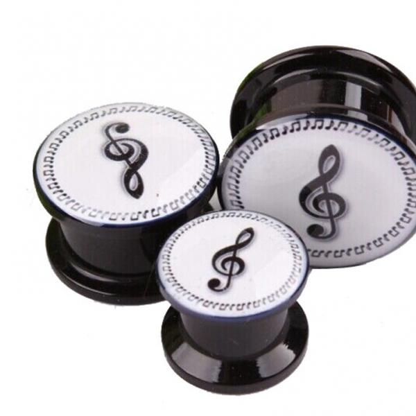 Treble Clef and Notes Ear Plug Expander Tunnel