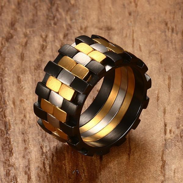 Stainless Steel 3 tone Mens Rings Band - Unique Design