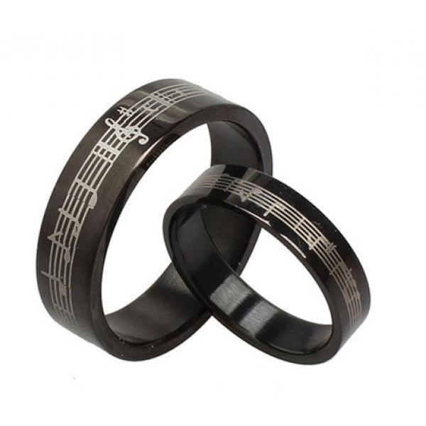 Music Ring - Romantic Black Stainless Steel Music band rings