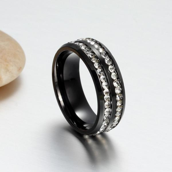 Black Titanium Ring with Double Row Of Crystals