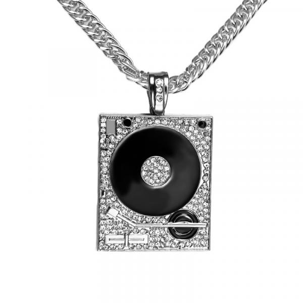 Hip Hop Iced Out Record Deck Heavy Pendant