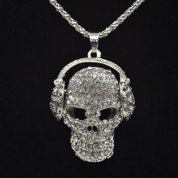 Gothic Vintage Punk Skull With Headphones Necklace