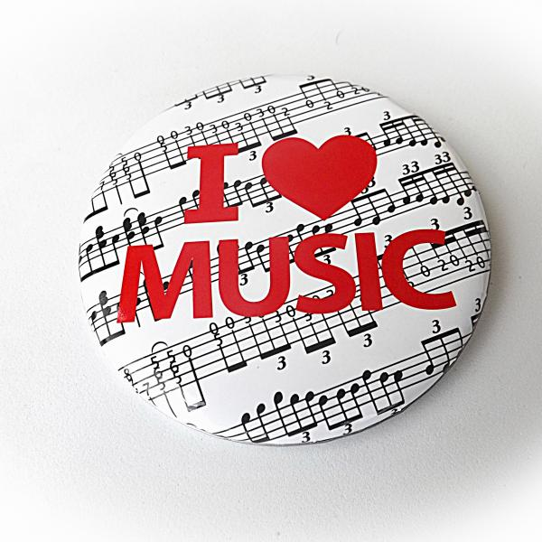 """I Love Music"" Button Badge"