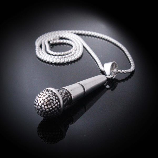 "Microphone Pendant  ""Jumbo Super Size"" Stainless Steel"