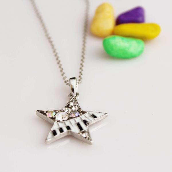 Keyboard & Star Music Necklace